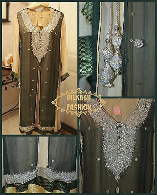 Pakistani Navy Green/Beige Double Shirt Style Chiffon Suit with Rhinestones ()