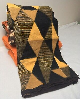Vintage Yellow Black Diamonds Belgian Wool Blanket Throw - Single MCM Panton