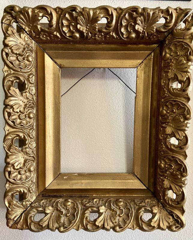 Ornate Antique Gold Picture Frame For 5x7 Wood Gesso