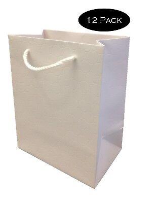White Paper Gift Bags with Handles Medium Wedding 8 x 10 Premium Heavy Duty    - Bulk Gift Bags