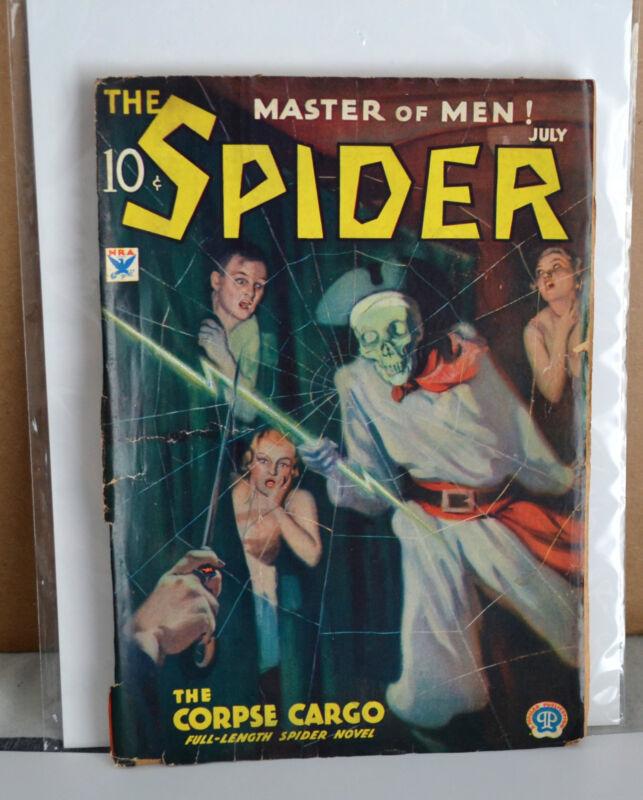 VTG PULP Master Of Men The Spider Vol 3 #2 July 1934 G/VG Corpse Cargo
