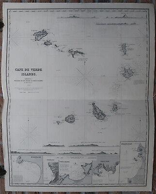Antique Print-SEA CHART-CABO-CAPE VERDE-ARCHIPELAGO-ATLANTIC-Wilson-1885