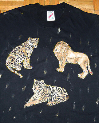 T Shirt Vintage 90s HAND PAINTED Abstract Lions Tigers Black JERZEES USA Made XL
