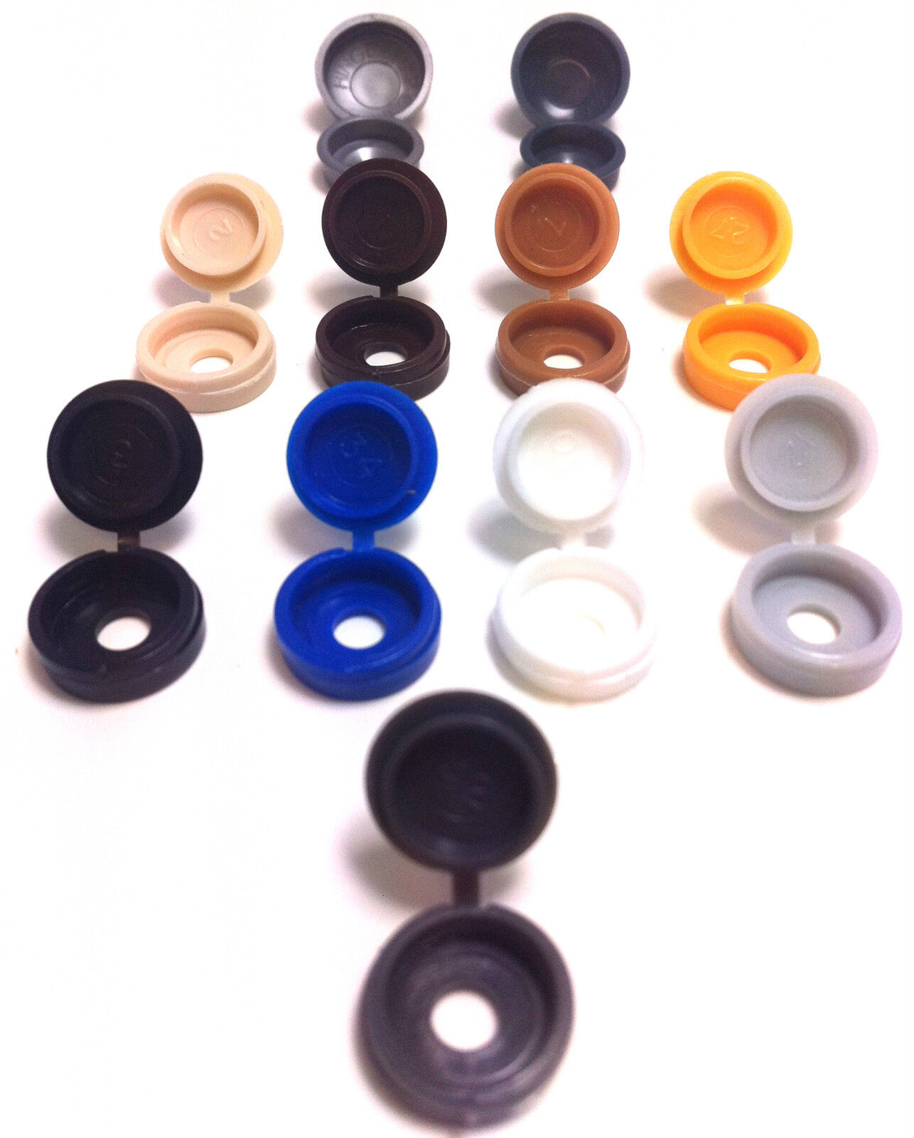 SMALL PLASTIC HINGED SCREW COVER CAPS BLACK YELLOW WHITE GREY BROWN BLUE GREEN