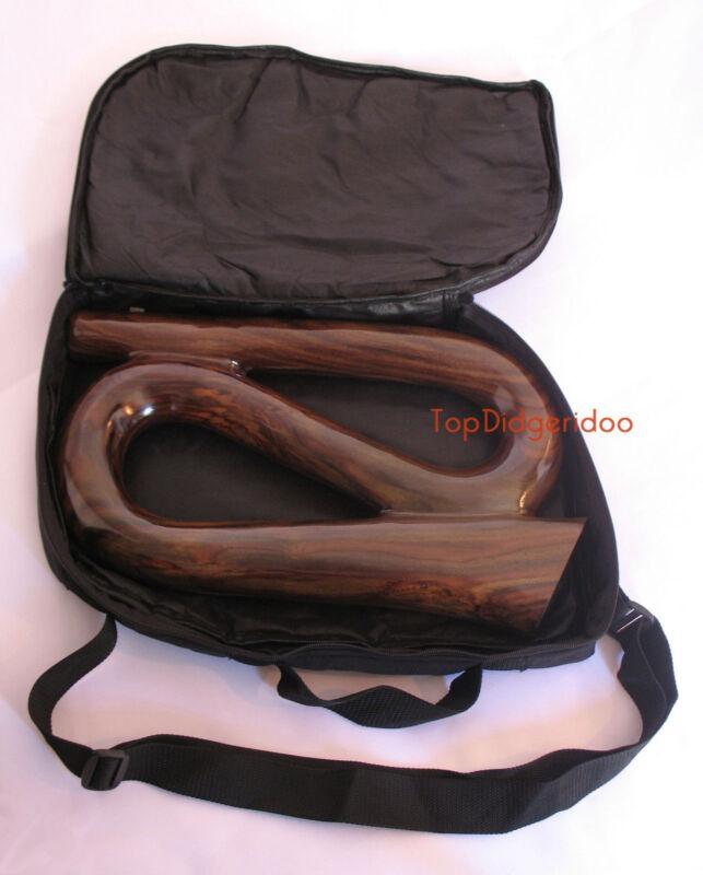 Compact S-Shape Didgeridoo + Bag Dark Sono Hardwood HandCarved travel didgebox
