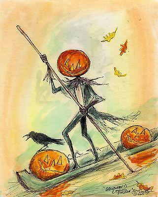 PIROQUE Pumpkin Head Bayou Raven Signed Print by JOHN R YORK (Louisiana Halloween)