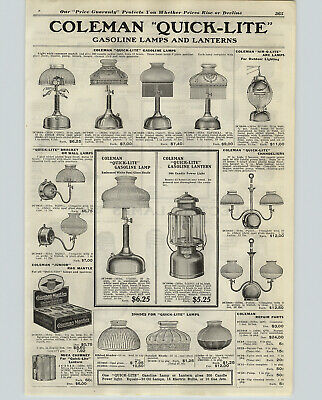 Lite-arc (1922 PAPER AD Coleman Quick Lite Lanterns Lamps Wall Ceiling Air-O-Lite Arc Lamp)