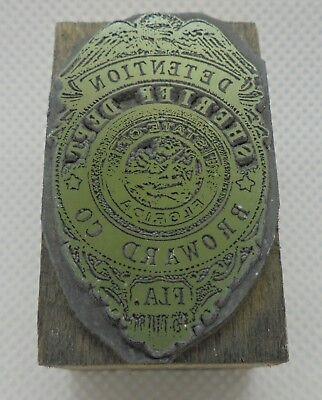 Vintage Printing Letterpress Printers Block Sheriff Dept Broward Florida Badge