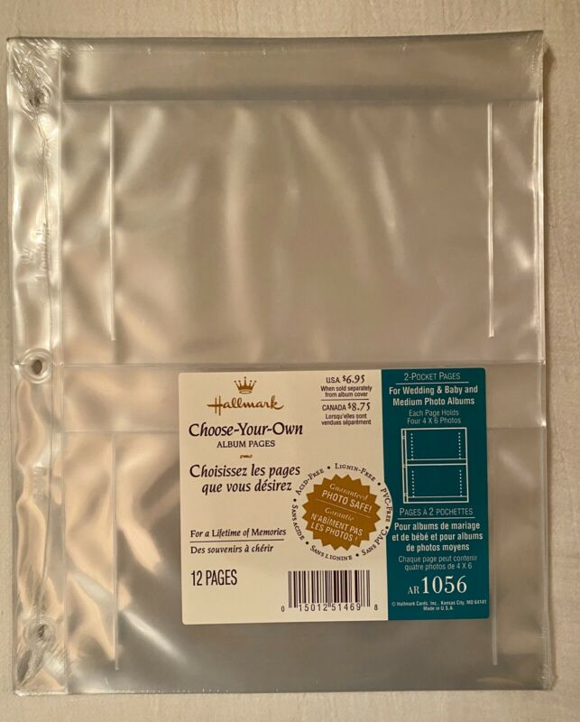 Hallmark Photo Album Refill 2 Pocket Pages Holds 4 4x6 Ea AR1056 New 3 Ring