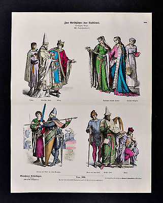 1880 Braun Costume Print - 12th c. German King Pope Noble Women Knights - Squire Costume