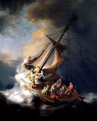 """Rembrandt """"CHRIST IN THE STORM ON THE SEA OF GALILEE"""" (11"""" by 14"""" PRINT)"""