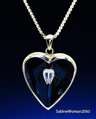 NEW in RED BOX STEUBEN Glass 18K GOLD TEARDROP HEART necklace pendant GOLD CHAIN