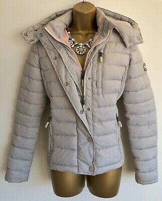 Superdry Womens Fuji Slim Double Zip Hooded Grey Jacket | Size UK 10 | £84.99