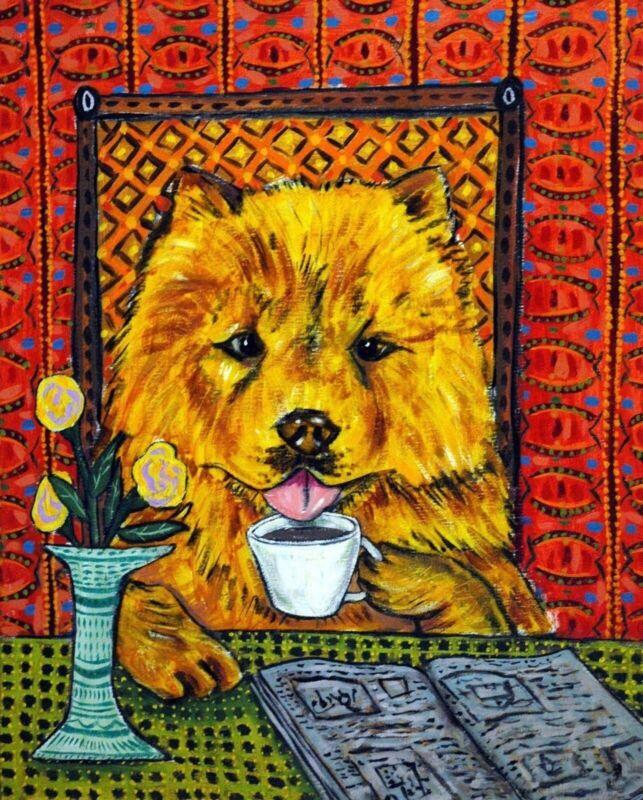 chow chow dog coffee 11x14  art print animals impressionism modern gift
