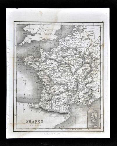 1827 Neele Map - France - Paris Marseille Bordeaux Tours Orleans Mt. Blanc Alps