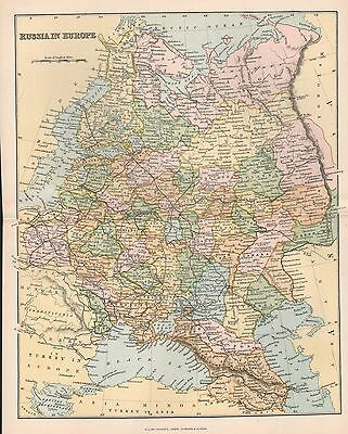 1900 Ca ANTIQUE MAP RUSSIA IN EUROPE