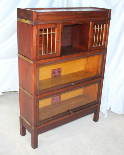 Arts and Crafts Mission Mahogany Bookcase – unusual section – leaded glass doors
