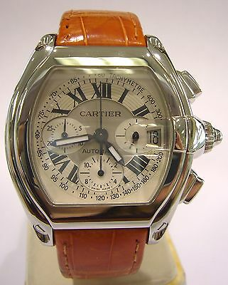 New Cartier Roadster Chronograph XL Men Watch Stainless Steel 2618