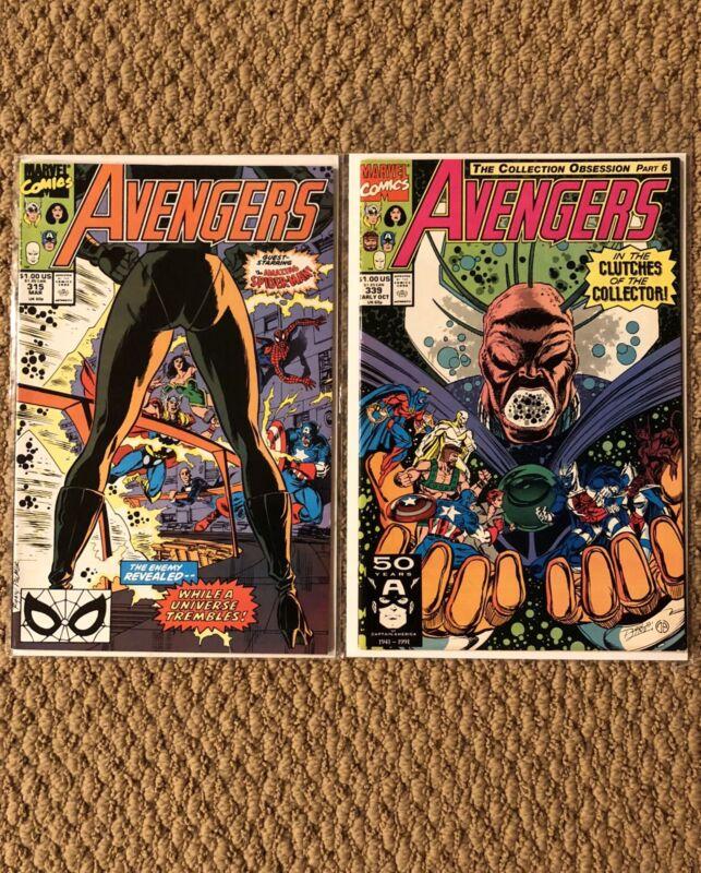 Avengers #315 - Avengers #339 - Marvel Comics - Spider-Man Appearance!
