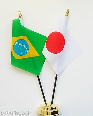 Brazil & Japan Double Friendship Table Flag Set