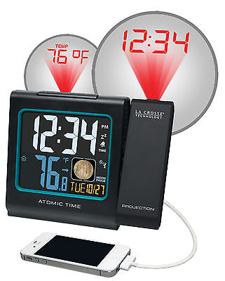 616-146A La Crosse Technology Atomic Projection Alarm Clock IN Temp USB Charging ()