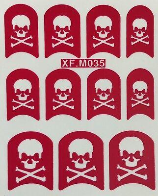 Nail Art Decals Stencil Stickers Halloween Bones & Skull XF.M035 (Art Halloween)