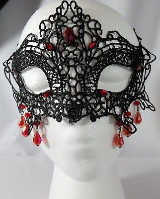 - Gothic Sexy Style Half-face Black Lace Mask w/Red beads Cosplay Masquerade