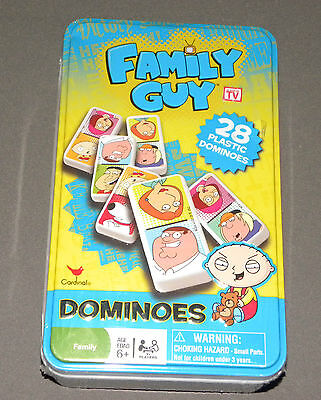 FAMILY GUY 28 PLASTIC Cardinal Dominoes in tin and instructions Toys