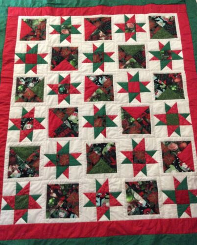 Handmade red and green star Christmas lap quilt
