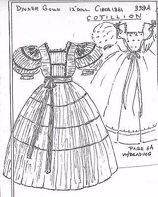 "12""ANTIQUE FRENCH FASHION LADY DOLL@1861 COTILLION DINNER DRESS&UNDIES PATTERN"