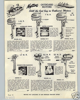 1948 PAPER AD Neptune Outboard Motor 1.7 3.5 2.5 5 7 10 HP (10 Hp Outboard Motor For Sale Used)