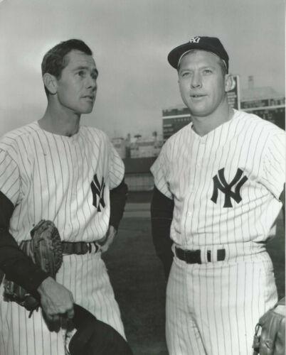 2 NY Yankees Mickey Mantle pics Johnny Carson and action  8x10 photo
