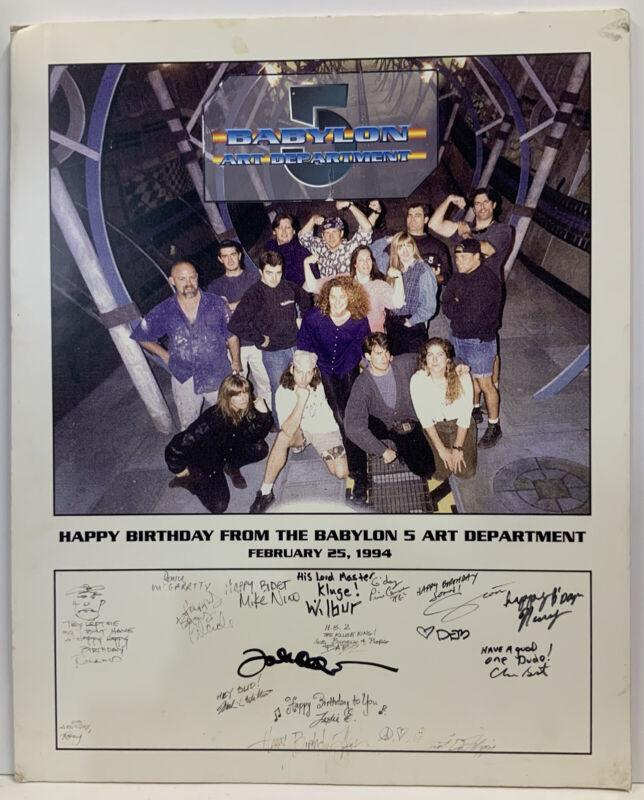 Babylon 5 Happy Birthday From Babylon 5 Art Department Signed Foam Poster 1994