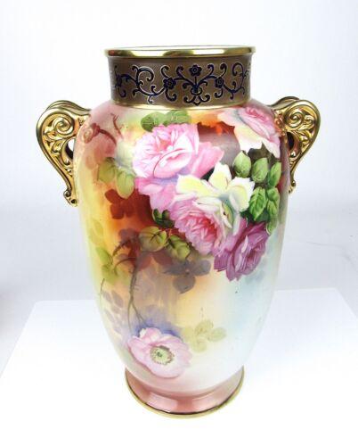 Nippon Porcelain Vase Hand Painted Floral & Gold Maple Leaf Mark 1891-1911