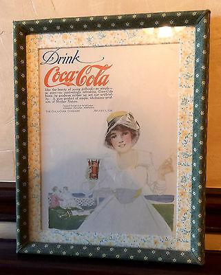 Vintage Coca Cola Advertising in Custom Fabric Frame
