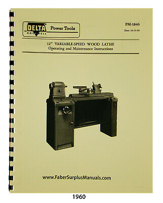 Delta 12 Variable Speed Wood Lathe Operating Maint Parts List Manual 1960