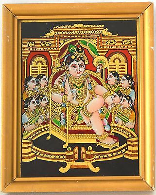 Tanjore Painting South INDIA Reverse Glass Krishna Radha Rukmini GOPI Miniature