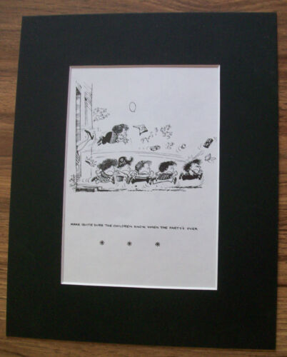Child Cartoon Print Norman Thelwell Kick Out Party Over Bookplate 1977 Matted