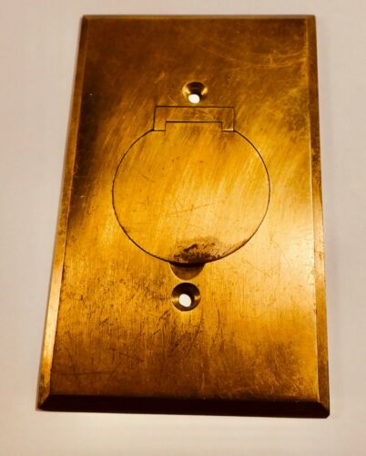 Vintage Hubbell Brass Electrical Outlet Cover