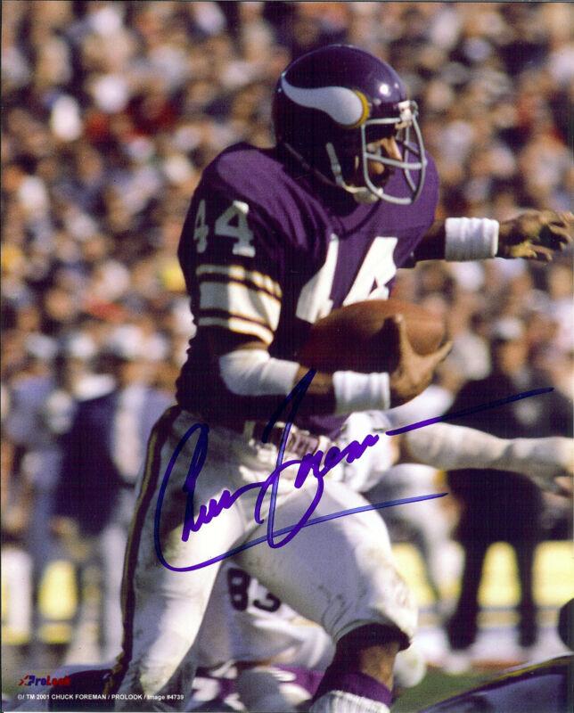 Minnesota Vikings Chuck Foreman autographed action 8x10 color photo