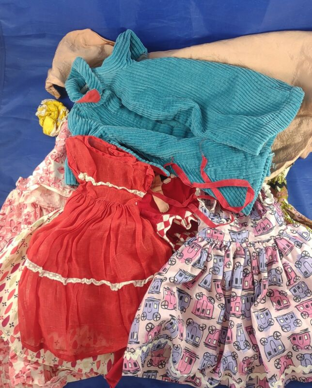 "Vintage Lot Baby Doll Clothes Dresses Cape Large, for 19"" Slender Doll"