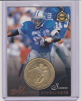 Detroit Lions Coin Card - 1997 PINNACLE MINT BARRY SANDERS BRASS COIN & CARD #27 ~ DETROIT LIONS GREAT