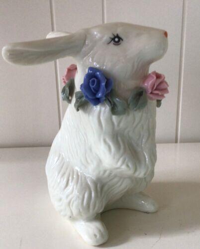 Vtg Ceramic Easter Bunny Figurine Rabbit White with Flower Roses Garland