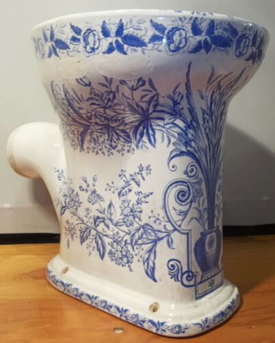 RARE Antique Victorian Floral Blue Transfer Omega Wash Down Porcelain Toilet