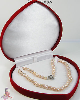 New Velvet Jewelry Store Style XL Necklace Pearl Red Heart Gift Box