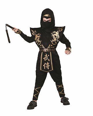 Ninja (Gold / Schwarz), Klein, Halloween, Jungen (oder Mädchen Kostüm