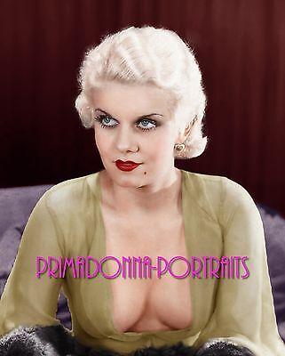 JEAN HARLOW 8X10 Lab Photo Colorized '30s Sexy Busty Glamour Movie Star Portrait