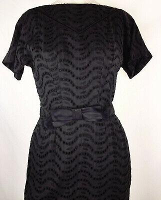 Vintage 50s Eyelet w Bow Belt Bombshell Dress Marilyn Black Cotton Summer - 50s Belt