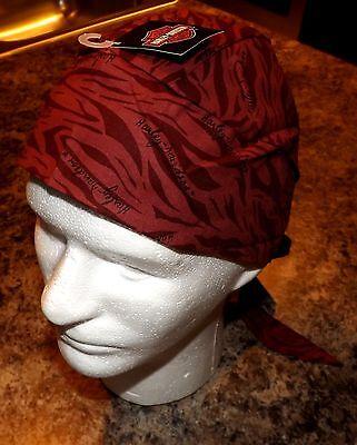 GENUINE HARLEY DAVIDSON RED MAROON SKULL CAP DOO DU DO RAG BANDANA HEADWRAP!