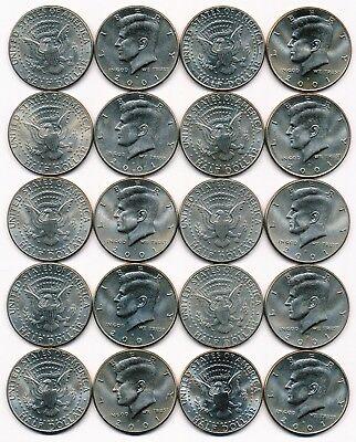2001 D KENNEDY HALF DOLLAR ROLL 20 COINS $10 ROLL